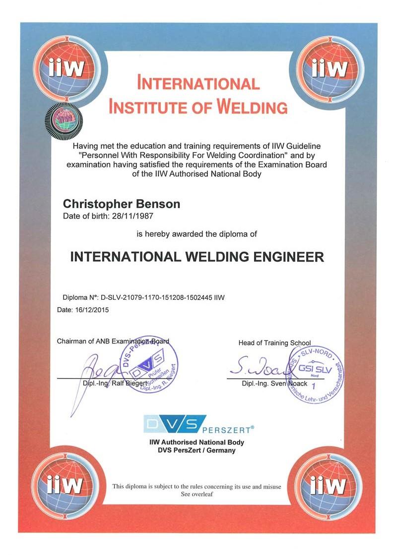 carl-benson-zertifikat-IWE-Internationaler-Schweissfachingenieur-Christopher-Benson